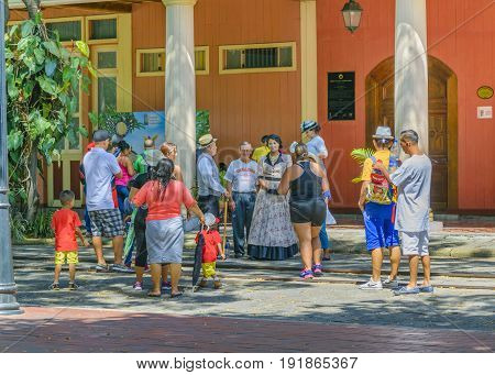 GUAYAQUIL ECUADOR MAY - 2016 - People at historic park located at samborondon neighborhood Guayaquil Ecuador