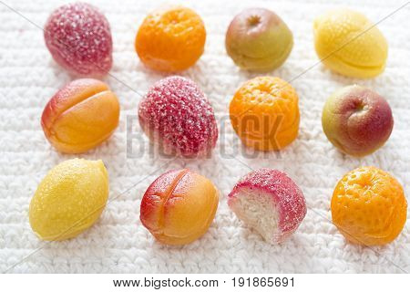 Marzipan fruits - peaches, raspberries, apples and lemons coated in sugar