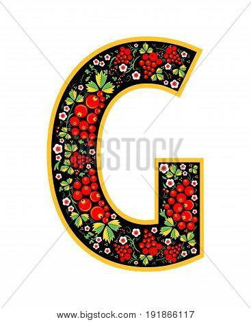Letter G In The Russian Style. The Style Of Khokhloma On The Font. A Symbol In The Style Of A Russia