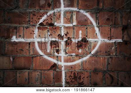 Wall with bullet damage. No terror concept