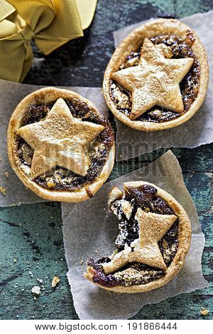 Mince pie butter pastry with gold lustre