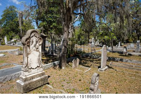 Historic Bonaventure Cemetery in Savannah GA. Names and dates have been removed from the photo.