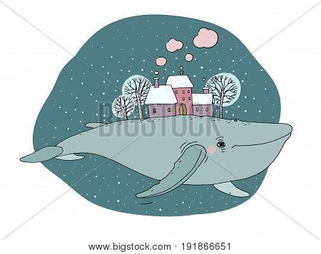Big beautiful whale with houses and trees in the back. isolated objects on white background. Vector illustration. Animal in the sea and ocean.