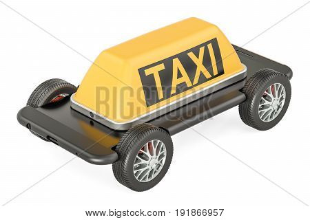 Taxi service concept phone with wheels. 3D rendering isolated on white background