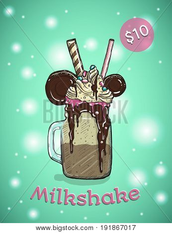 Monstershake In cartoon Style. Crazy Milkshake with cookies chocolate ice cream and candys. Hand Drawn Creative Dessert. Vector illustration.