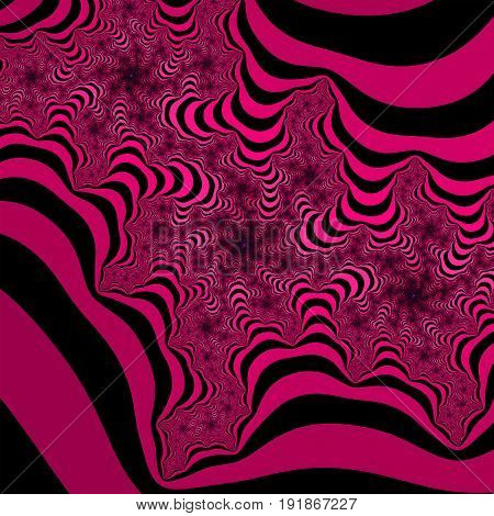Pink and black striped fractal pattern. Cold colors fractal. Vibrant colors fractal.