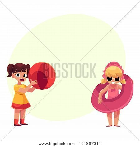 Two little girls playing on beach with inflatable ring and ball, summer vacation, cartoon vector illustration with space for text. Babies, girls playing on beach with inflatable ball and ring