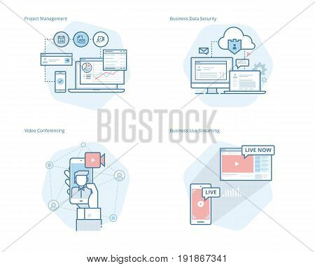Set of concept line icons for project management, business data security, video conferencing, business live streaming. UI/UX kit for web design, applications, mobile interface, infographics and print design.