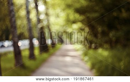 Blurry unfocused landscape with road and vegetation.