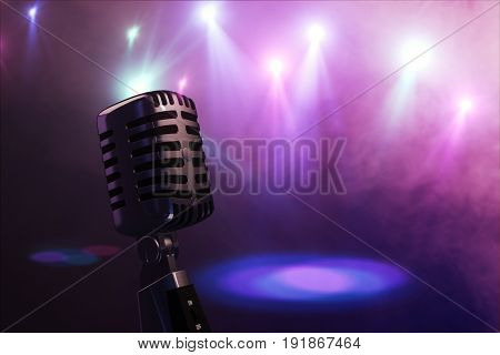 Old Retro Microphone With Stage Lighting Background
