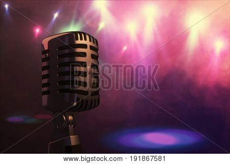 Retro Style Microphone On Stage In The Spotlight Performance Of The Musical Group. Microphone For Ro