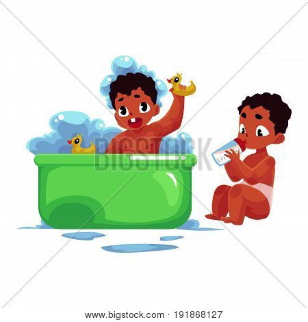 Little black, African American baby taking foam bath and eating from milk bottle, cartoon vector illustration isolated on white background. Little black, African American baby washing and eating