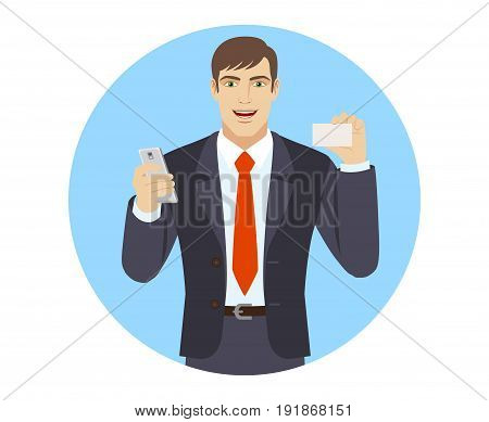 Businessman with mobile phone showing the business card. Portrait of businessman character in a flat style. Vector illustration.
