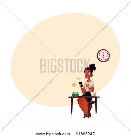 Black, African American businesswoman using smartphone, having breakfast, drinking coffee before work, cartoon vector illustration with space for text. Black businesswoman has breakfast