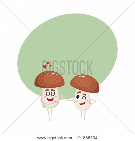 Two funny porcini mushroom characters, one showing love, another giving thumb up, winking, cartoon vector illustration with space for text. Two porcini mushroom characters, love and joking