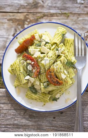 Pesto Pasta Salad with Sundried Tomatoes and parmesan