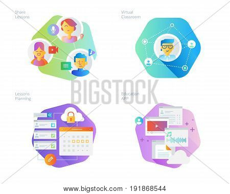Material design icons set for online education, apps, virtual classroom, education network, lecture program for teachers. UI/UX kit for web design, applications, mobile interface, infographics and print design.