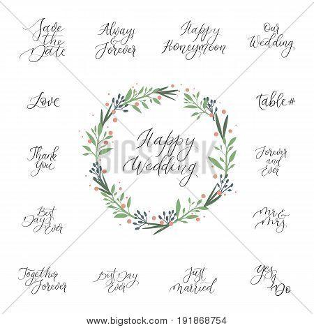 Calligraphy Set For Design Wedding Invitations, Photo Overlays, Cards. Handwritten