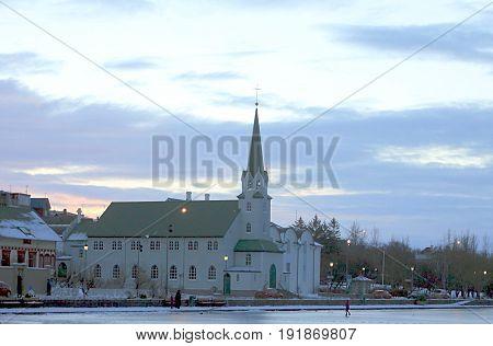 REYKJAVIK ICELAND - DECEMBER 30 2012: Basilika Krists konungs Landakotskirkja. Lutheran Cathedral in Reykjavik, Iceland's capital.