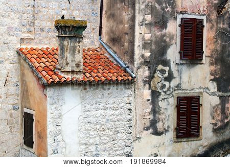 Architectural detail in the Old City of Kotor, Montenegro, Europe