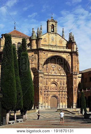 Salamanca, Spain - May 7, 2014. View of San Esteban Convent in Salamanca, Spain.