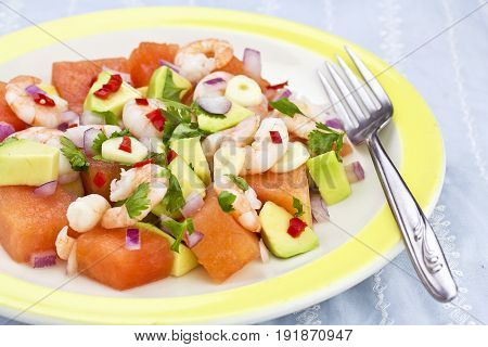 Avocado, shrimp watermelon summer salad with coriander garnish