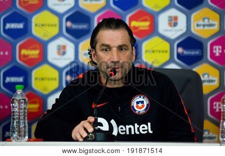 CLUJ-NAPOCA, ROMANIA - 12 June 2017:Chile's coach Juan Antonio Pizzi speaks at a press conference before a friendly match Romania v Chile in Cluj-Napoca, Romania on June 12, 2017. 12 Jun 2017