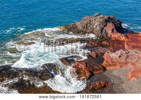 Volcanic Coastline With Wavy Ocean And Blue Sky, Lanzarote Island, Spain