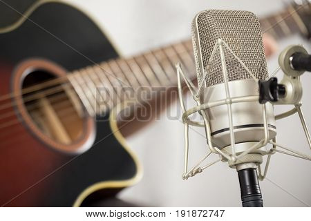 Professional Microphone And Acoustic Guitar