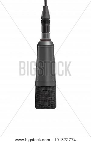 Professional Microphone Hanging On Cable On White Background, Mic