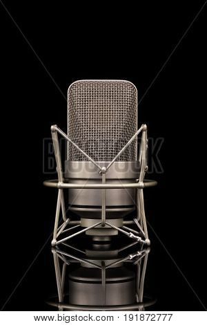 Professional Microphone On Black Background, Mic