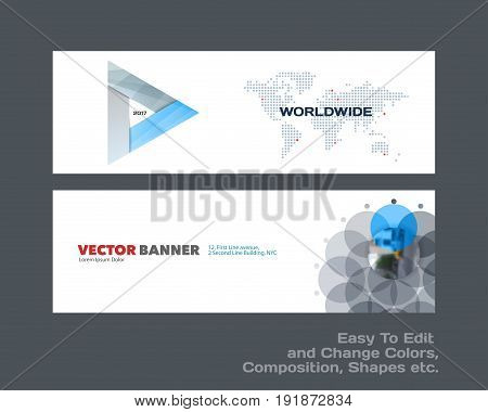 Abstract vector set of modern horizontal website banners with colourful triangles, arrows for construction, teamwork, tech, communication. Clean web headers design with overlay effect.