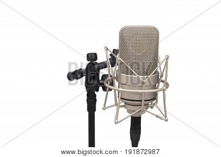 Professional Microphone With Large Diaphragm On White Isolated Background, Mic