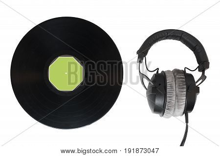 Headphones And Vinyl On White Isolated Background