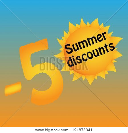 Logo of summer discounts. Minus fifty percent. -50 . The lights of a sun . Template. Vector illustration