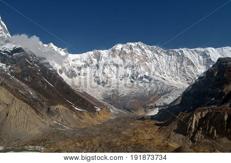 Snowy Mountain Landscape in Himalaya. View from Annapurna Base Camp Track, Nepal.