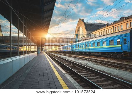Beautiful Blue Passenger Train At The Railway Station
