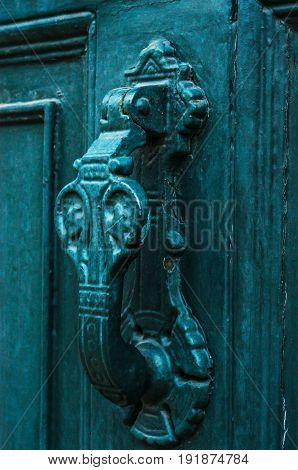 Door With Brass Knocker In The Shape Of A Hand, Beautiful Entrance To The House