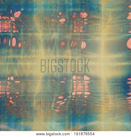 Colorful vintage background, grunge texture with scratches, stains and different color patterns: yellow (beige); pink; brown; blue; red (orange); cyan