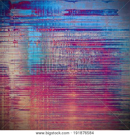 Damaged retro texture with grunge style elements and different color patterns: yellow (beige); blue; red (orange); purple (violet); cyan; pink