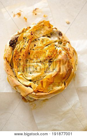 Filo pastry filled with sliced mushrooms, leeks in creamy cheese sauce