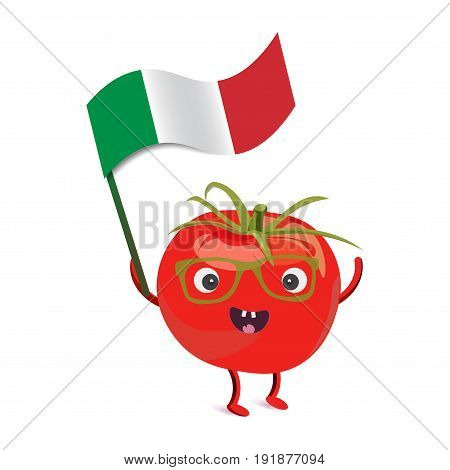 Tomato character holding the flag of Italy. Tomato cute mascot with legs and hands promotes italian cuisine. Italian food mascot or character.