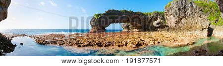 Scenic natural arch on coast of island Talava Arch Niue