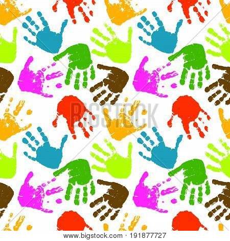 seamless vector pattern of prints of hands. multicolor. Vector Illustration design