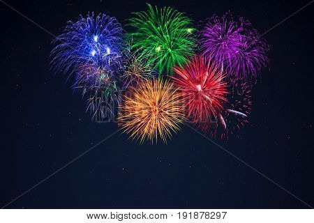 Blue Green Purple Red Yellow Celebration Fireworks