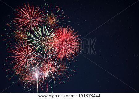 Red Green Yellow Fireworks Located Left Side