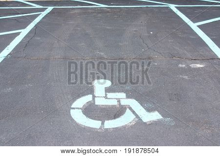 Handicapped parking spot at a local hotel parking lot