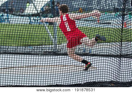 Throwing the discus in the CHSAA New York High School Catholic State Championships on Saturday May 27 2017