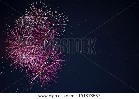 Maroon Red Pink Celebration Fireworks Over Night Sky