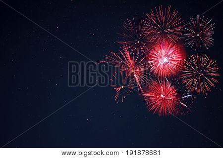 Red  Fireworks Located Right Side Over Night Sky